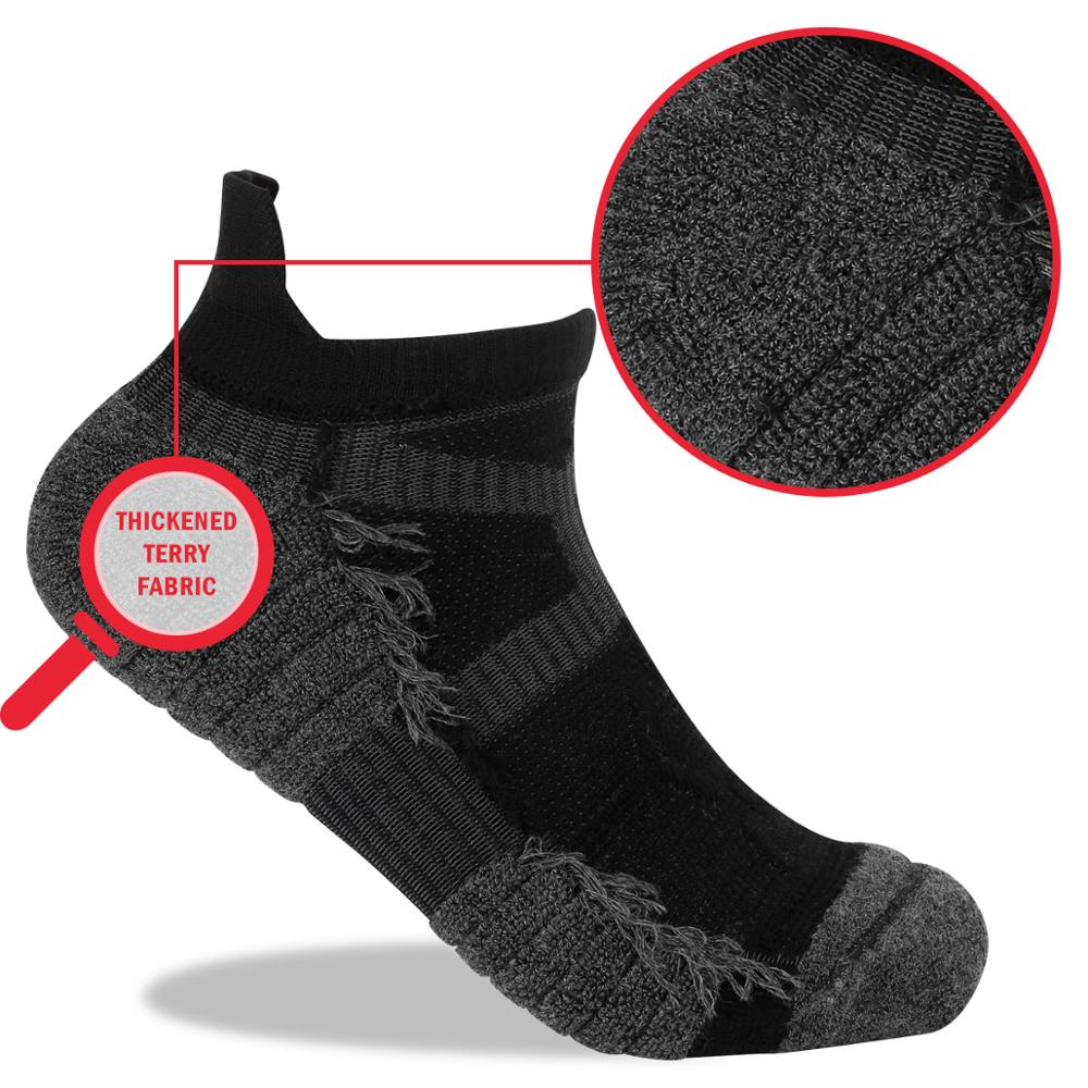 Image 2 - YUEDGE 5 Pairs Men And Women Black Cushion Cotton Comfort Breathable Casual Sports Running Low Cut Ankle Socks( 5 Pair/Pack)Mens Socks   -