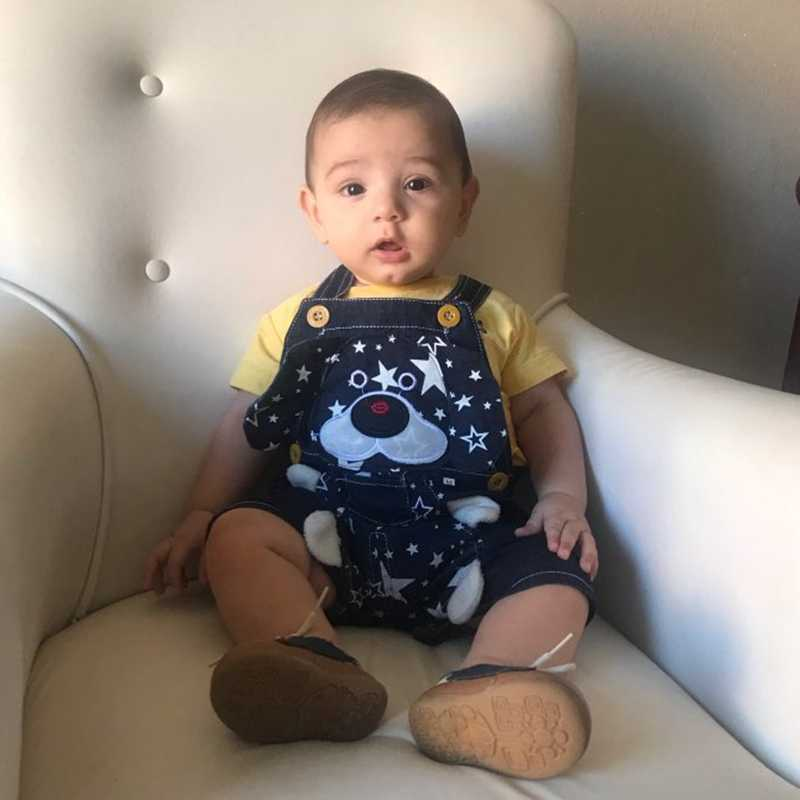 1 2 3 4T ベビー服男の子女の子ジーンズオーバーオールショーツ幼児子供デニムロンパースかわいい漫画のパンツ夏よだれかけ服
