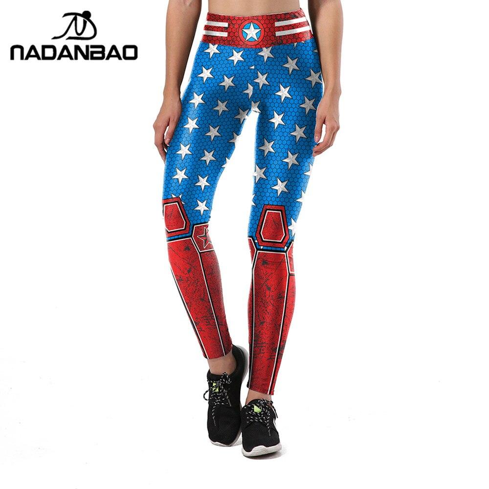 NADANBAO New Autumn Leggings Women Armor 3D printing Star Legging Fitness Sporting High Waist Elastic Trousers Pants Legins Лосины