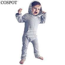 ФОТО Baby Boys Hooded Rompers Boy Winter Autumn Striped Jumpsuits Kids  Hoodeis Harem Romper bron Cotton Tank Playsuits 15F