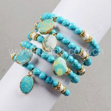 2016 Fashion Druzy Bracelet 24K Gold Plated Natural Turquoise Pendant & 6mm Blue White Howlite Turquoise Beads Bracelet G0335