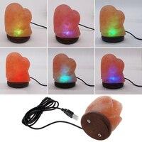1pc Heart Creative Crystal Lamp Desk Light Table Lamp Natural Himalayan Salt Lamp LED Lamp Air Purifier Night Light