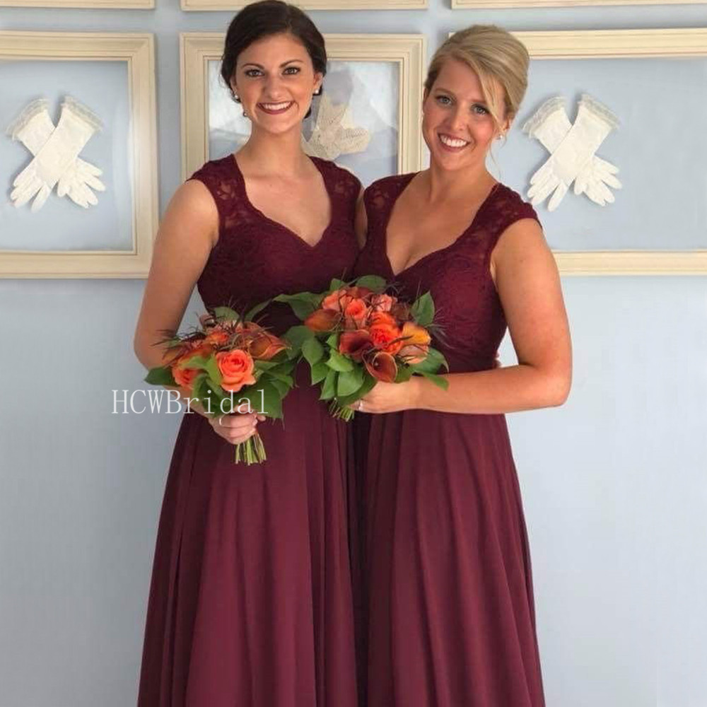 Dark Red Long   Bridesmaid     Dresses   2019 Custom Made A Line Floor Length Lace Maid Of Honor Wedding Party Gowns Robe De Soiree