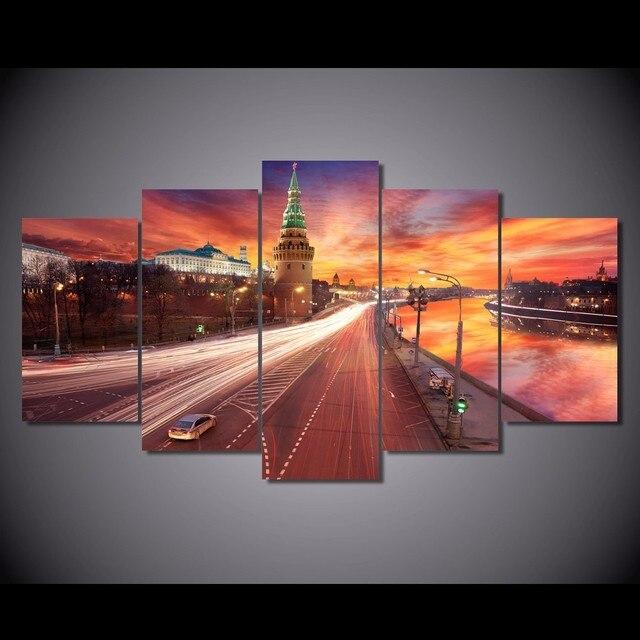 € 22.81 5% de réduction|Pcanvas Imprimé Rouge Coucher de Soleil Sur Moscou  Kremlin Peinture Impression Sur Toile chambre décor d\'impression d\'affiche  ...