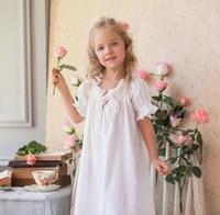 Pure cotton satin baby princess long nightdress children pure cotton short sleeved nightdress summer girls home clothing