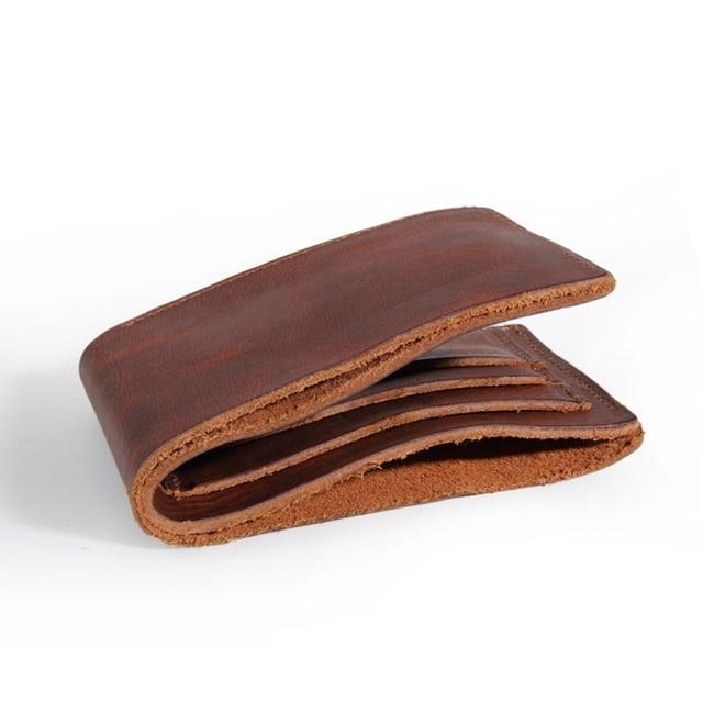 2017 Vintage Genuine Leather Wallet Men Custom Logo And Name Crazy Horse Leather Short Handmade Purse Gift For Men Wallets