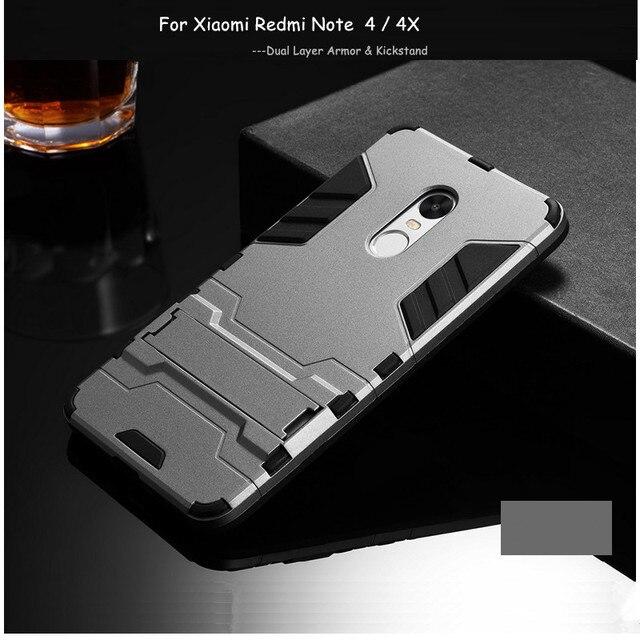 Xiaomi Redmi Note 4x Case Redmi Note 4 Cover WolfRule Plastic + Silicone Stand Anti-knock Case For Xiaomi Redmi Note 4x Case  <}