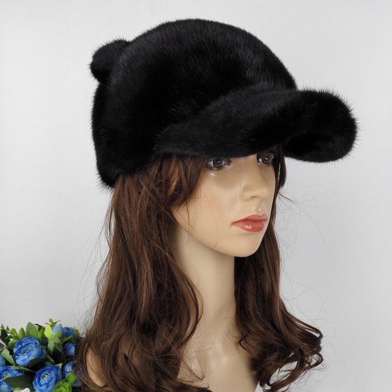 Femmes russes à la main en gros réel vison fourrure visière chapeaux femme hiver chaud casquettes mode chapeaux LF4043