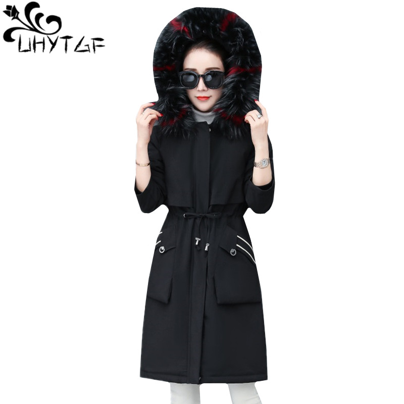 UHYTGF Parka Women New Winter Down Jacket Thick Warm Outerwear fur collar Hooded Cotton Coat long luxury Parker Jacket M-3XL1009