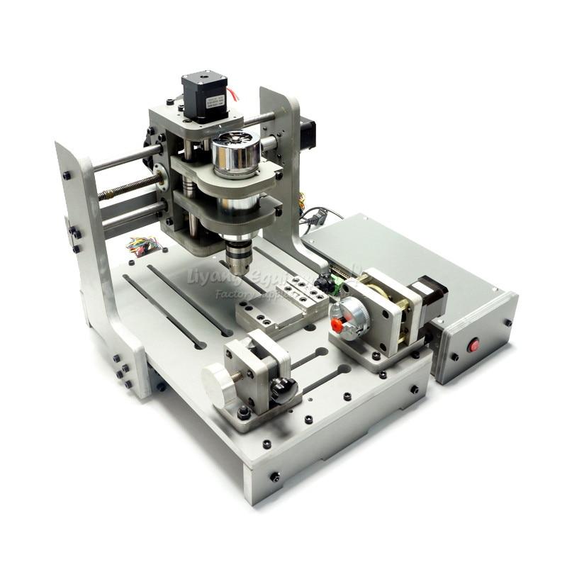 4 Axis 300W Spindle Mach3 Control CNC Router Engraver CNC mini PCB Milling Machine