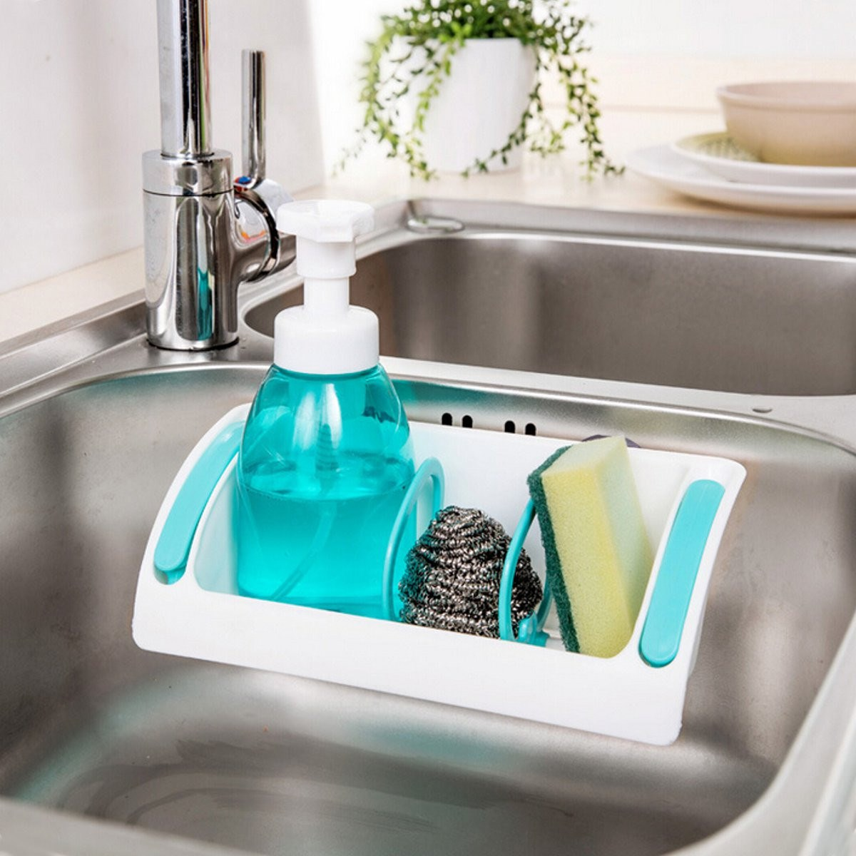 Kitchen Sink Storage #35: 1Pcs Kitchen Sink Suction Cup Bathroom Storage Shelf Rack Home Bathroom Sundries Holder Organiser Tray(