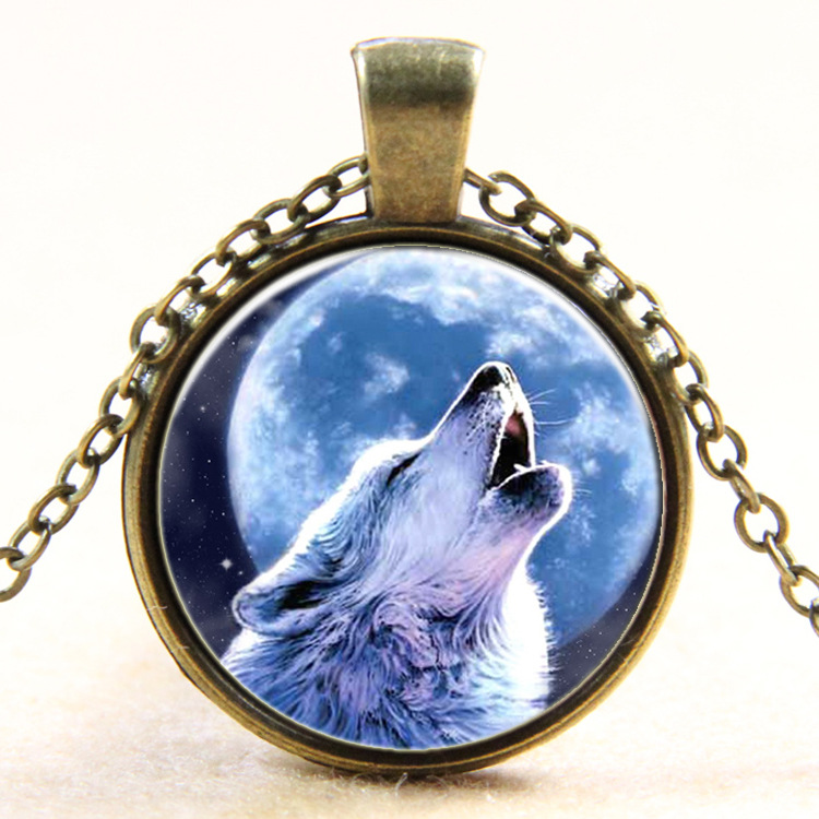 12pcs Europe and the United States time Wolf totem pendant necklace sweater chain B404 sell like hot cakes Necklaces & Pendants