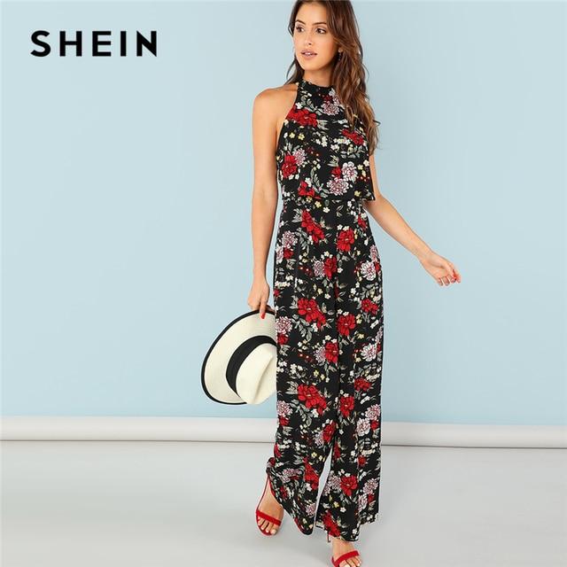 086293a098 SHEIN Multicolor Vacation Boho Bohemian Beach Floral Print Wide Leg Halter  Mid Waist Jumpsuit Summer Women