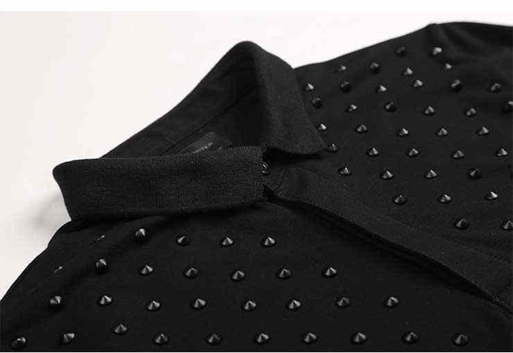 2018男性新しい夏カジュアル黒リベット装飾デザインポロシャツ男性スリムフィットコットンファッションポロ男性通気性人気ポロ