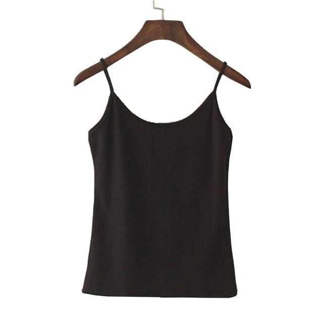 טנק קיץ נשים למעלה חולצות מקרית של Camisoles נשים רצועת ספגטי חולצה הקצוץ Vest Camis נקבה אופנה כותנה סינתטית