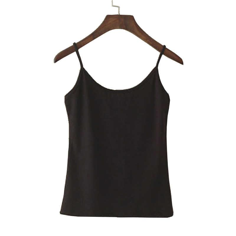 Débardeur femme été camisoles décontractées femmes hauts T-shirt Spaghetti sangle recadrée gilet femme Camis mode coton synthétique