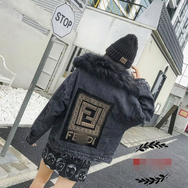 Winter Women Thick Flocking Denim Jacket Warm Natural Fur Collar Parka Brand Female Diamonds Overcoat Plus Size Long Sleeve Coat 3
