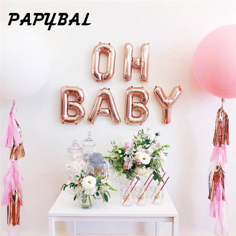 16 inch Rose Gold OH BABY letter foil balloons party decoration Baby Shower Birthday Wedding event supplies DIY Hanging balls