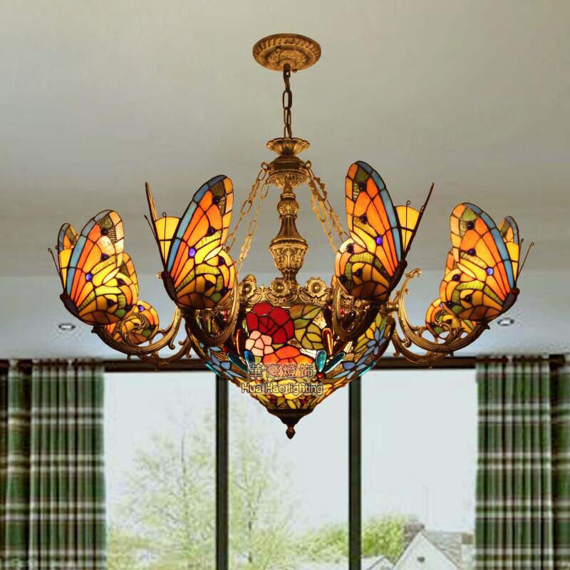Tiffany Baroque butterfly pendant light Stained Glass Suspended Luminaire Chain hanging lighting for Home Parlor Dining Room