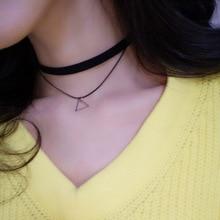 Harajuku Triangle Geometric Pendant Necklace Multilayer Chokers Necklaces Collar Short Choker Necklace Women Fashion Jewelry