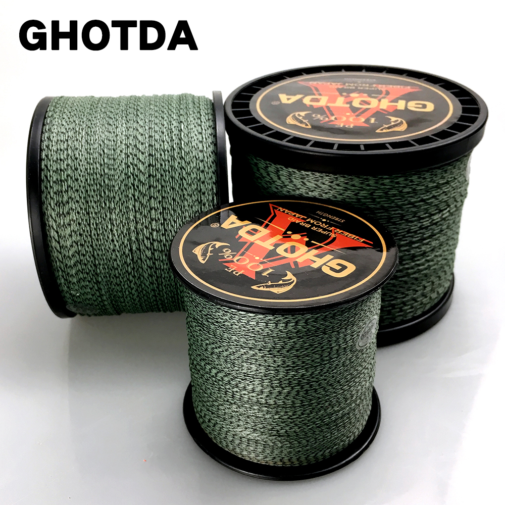 GHOTDA 8 Strands 100M 300M 500M 1000M PE Braided Fishing Line Camouflage Saltwater Fishing Wire Super Strong 22LB-78LB