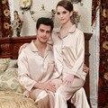 2017 recién llegado de pareja Pijama otoño pantalones de manga larga traje de Solapa Del Equipamiento Casero de seda masculinos Señoras de Seda Pijamas
