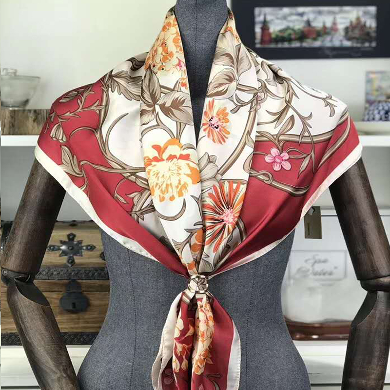 Women Luxury   scarf   Red Satin Square   Scarves     Wraps   New Brand Silk   Scarf   Shawl Spring Fall Floral Ladies Neck   Scarf   Cape 90*90cm