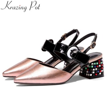 Krazing Pot large size natural leather colorful crystals decoration buckle strap slingback women sandals pointed toe shoes L78