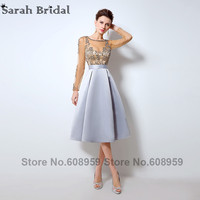 Sexy Illusion Long Sleeve Homecoming Dresses 2016 Sexy Sheer Crystal Beaded Short Prom Dress Party Rode