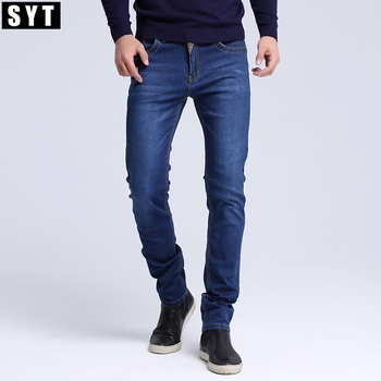 SYT Mens jeans New Fashion Men Casual Jeans Slim Straight High Elasticity Feet Jeans Loose Waist Long Trousers S6CJ064