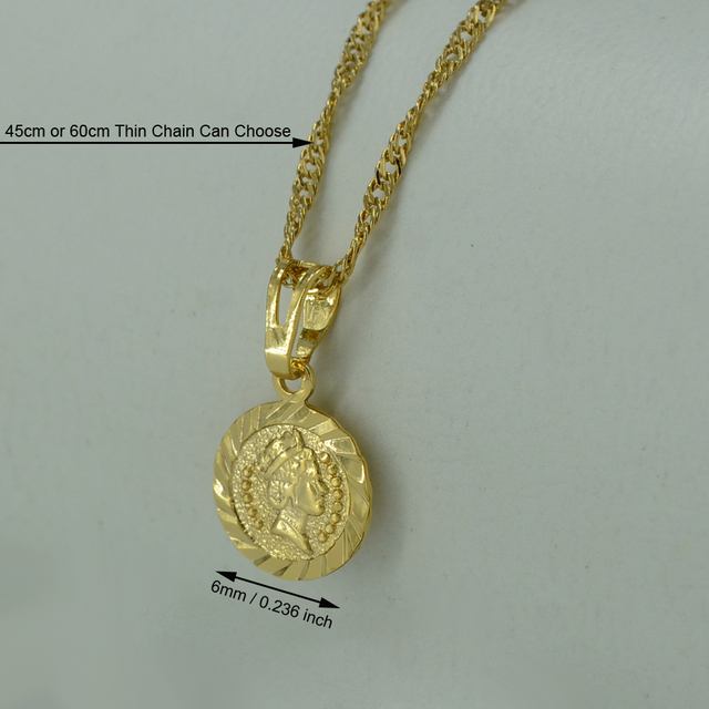 Well-known Mini Gold Coin Necklace and Pendant for Women Gold Plated Coins  TJ71