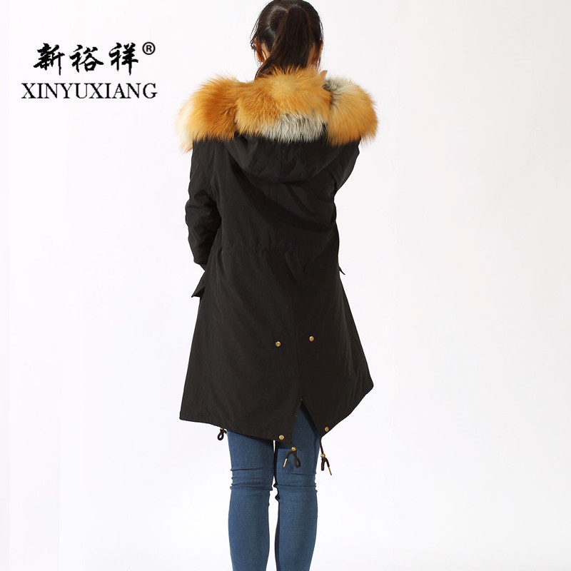 Parkas Réel Lapin Grand Doublure 0388c Naturel Black Xinyuxiang Or Couleur Fox Manteau Rex Veste 2018 Fourrure Femmes Noir Long Col De SnZZ47p