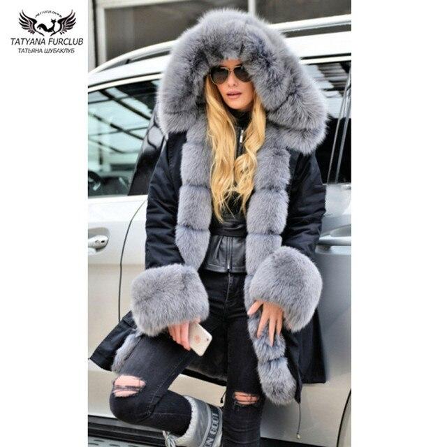 Tatyana Furclub nouvelle vraie veste de fourrure pour les femmes vêtements dhiver épais chaud grande taille manteau noir Outwear avec grand col de fourrure Parkas