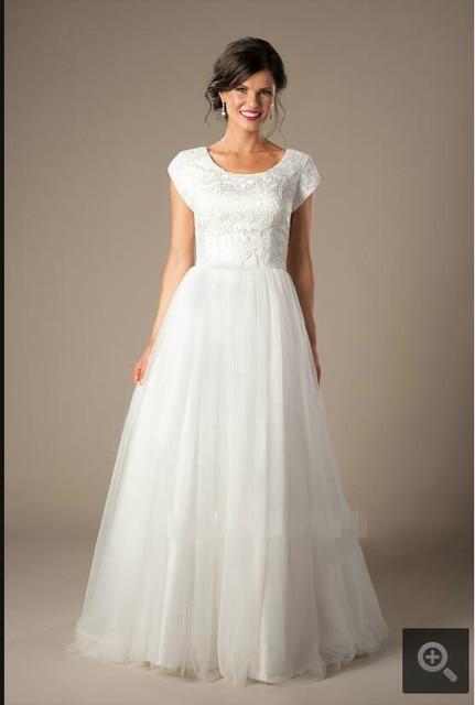 2017 Robe De Soiree Putih Renda Tulle Sebuah Line Sederhana Gaun