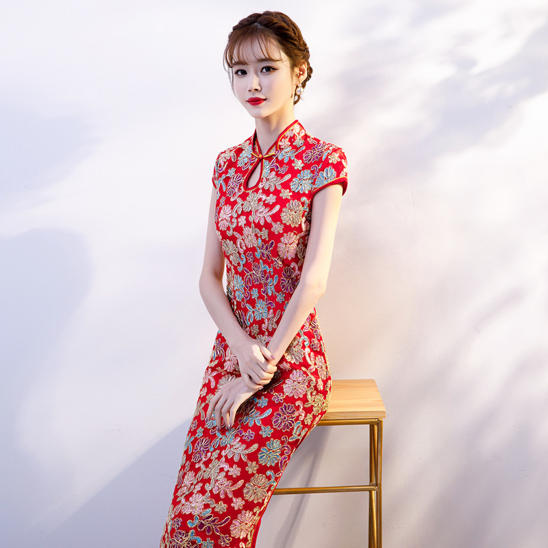 Mode rouge dentelle Floral fait à la main bouton Silm Qipao chinois traditionnel femmes robe Vintage dame Sexy rayonne Cheongsam taille S-XXL