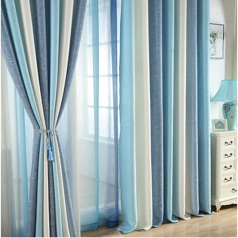 Blue Striped Printed Blackout Curtains For Living Room Modern Window Blinds For Married Room Study Room Kids Cortinas Rideaux