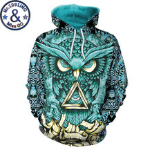 Casual 3D Hoodiesผู้ชายผู้หญิง 2020 Psychedelic Owlพิมพ์Hooded Sweatshirtsผู้ชายHarajuku Hip Hop Streetwearเสื้อHoodie XXL