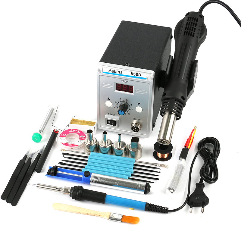858D BGA Desoldering ESD Soldering Station Hot air Rework Station LED Digital Hot Air Gun Electric Soldering Iron Tools Set kit 650w 110v or 220v yihua 858d hot air desoldering station with 45w soldering iron air gun soldering station