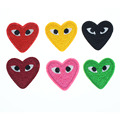 4*3.5cm Heart Shaped Eye Embroidery Black Patches Cartoon Embroidered Iron On Patch For Clothing Applique Craft Accessory