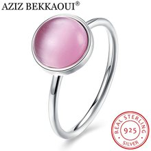 AZIZ BEKKAOUI Real 925 Sterling Silver Lovely Pink Finger Ring for Women Romantic Stackable Ring Original Wedding Jewelry(China)