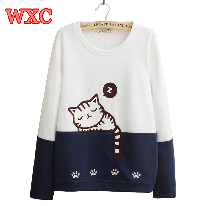 Harajuku Women Hoodies Kawaii Cute Sleeping Cat Sweatshirt Japanese Style Mori Girls Patchwork Long Sleeve Pullover Moletoms WXC