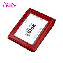 HMILY Genuine Leather Women& Men Money Clip Trendy Card Wallets Slim Thin Dollar Clip Real Cowhide Rfid Blocking Money Clip(China)