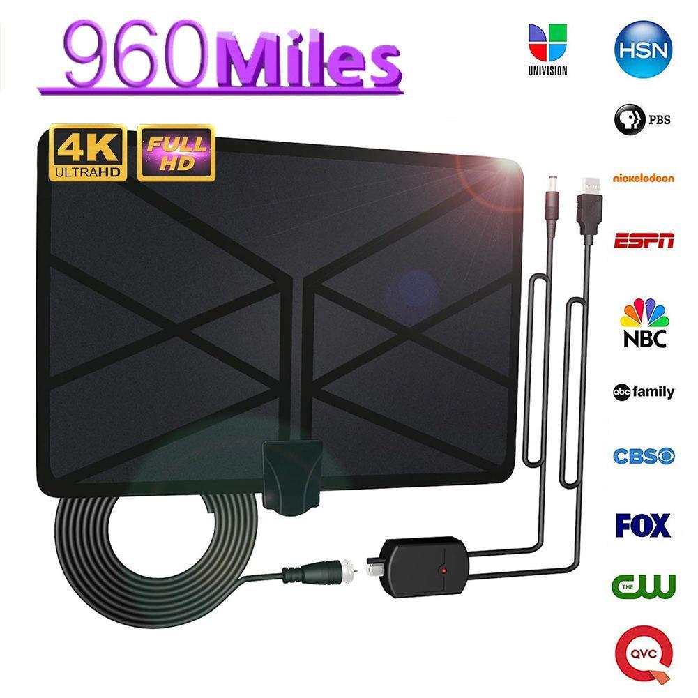 Nouvelle antenne TV intérieure amplifiée antenne HDTV numérique 960 Miles portée avec 4 K HD1080P DVB-T Freeview TV pour la vie chaînes locales