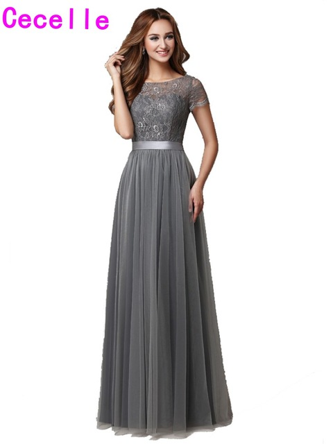 2018 Grey Long Modest Bridesmaid Dresses With Cap Sleeves Lace Tulle A Line Floor Length