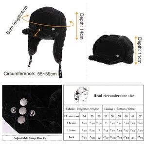 Image 4 - FANCET החורף חם פו פרווה מפציץ כובעי לנשים מוצק אקריליק רוסיה כובעי זכר אוזן דש הגנה מתכוונן Ushanka 99723