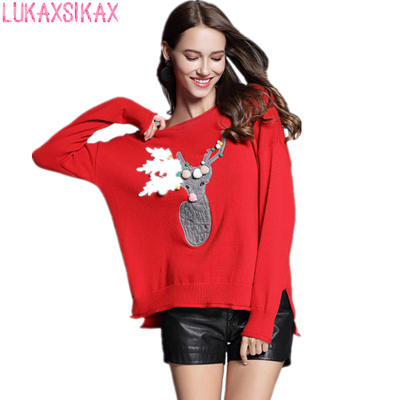 2018 New Year Specially Tailored Red Christmas Sweater Loose Women Knitted Pullover Sweater Funny Sweater With Deer
