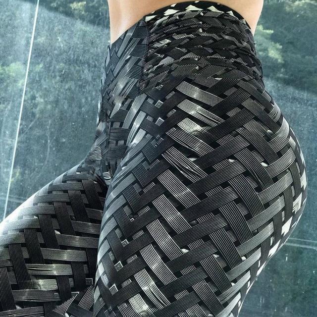 למעלה איכות נקבה ספורט Irenweave חותלות אריגת מודפס עניבת נשים מכנסיים כושר אימון Scrunch שלל חותלות