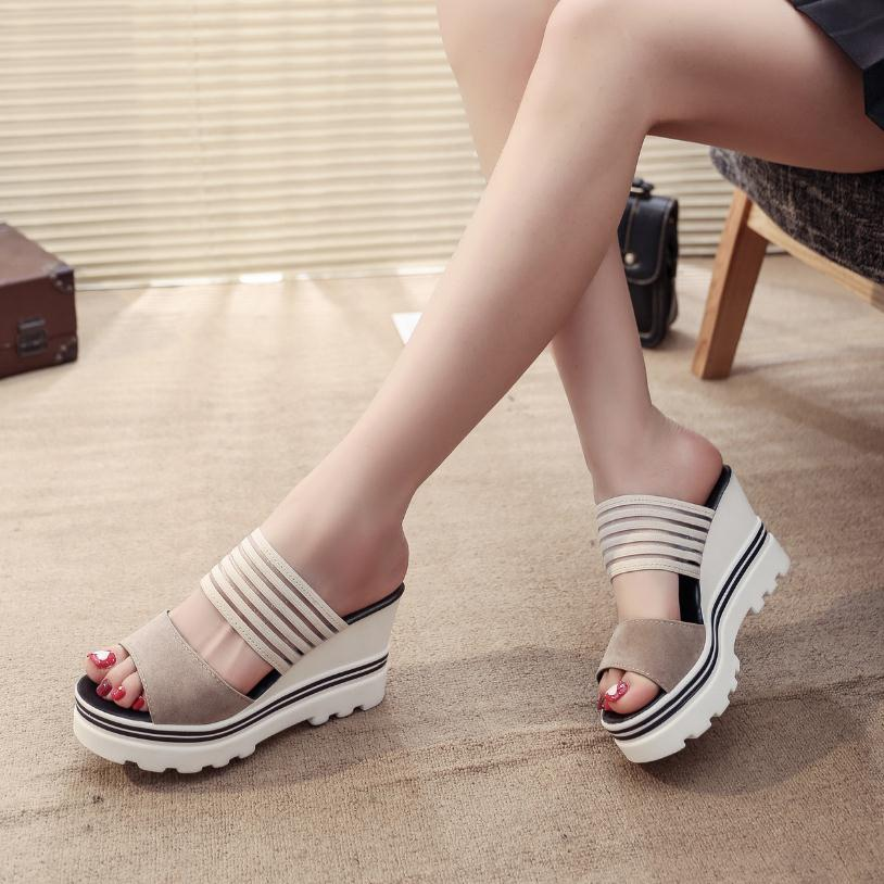 Image 5 - Women Summer Slippers Wedges Paltform Slides Female Black Height Increasing Sandals Woman Open Toes High Heel Shoes SH021804Slippers   -