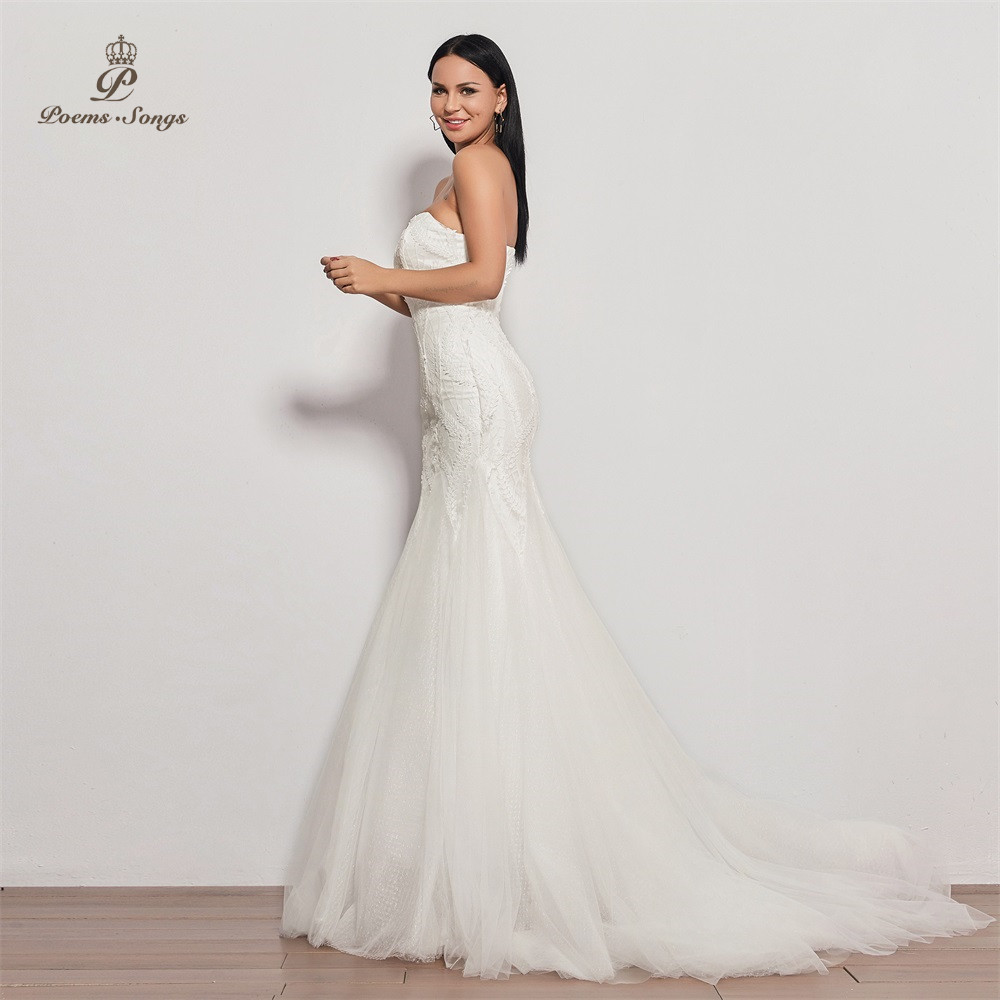 Image 3 - PoemsSongs  2019 new wedding dress strapless vestidos de novia wedding gown mermaid bridal dress sexy robe de mariee women-in Wedding Dresses from Weddings & Events
