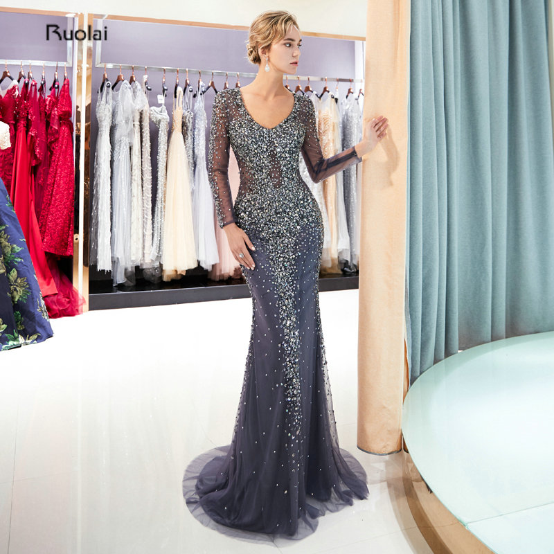 Mermaid Luxury   Evening     Dresses   2018 Long Sleeves V Neck Heavy Beaded   Evening   Gowns Formal Party   Dress   robe de soiree